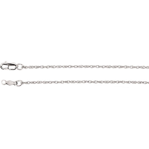 "14K White Gold Lasered Titan Rope Chain Necklace (.75MM) (16"")"