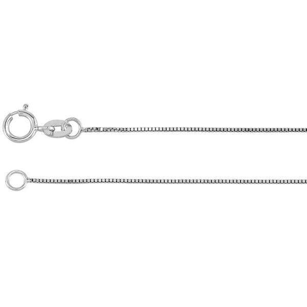 "14K White Gold Box Link Chain Necklace (24"" length, .55MM)"