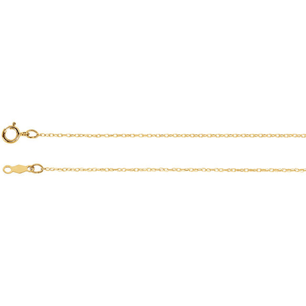 "14K Yellow Gold Rope Chain Necklace 18"" long (.75MM)"