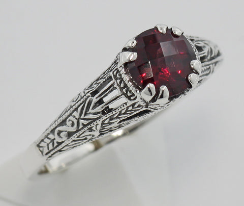 GARNET RING STERLING SILVER FILIGREE ANTIQUE STYLE RETAIL $115 + TAX!