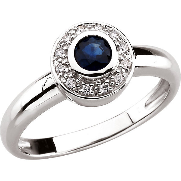 14K White Gold Blue Sapphire Ring w/ 12 Halo Style Diamonds