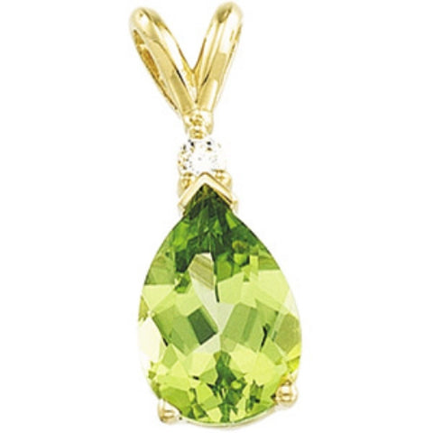 This 14k Yellow Gold Pendant featuring a Genuine 2 Carat Pearshaped Peridot