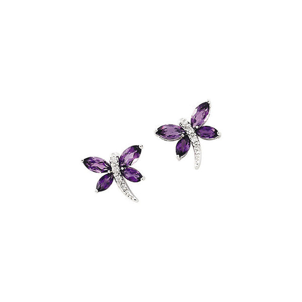 14K White Gold Dragonfly Earrings w/ Amethysts + Diamond Detail