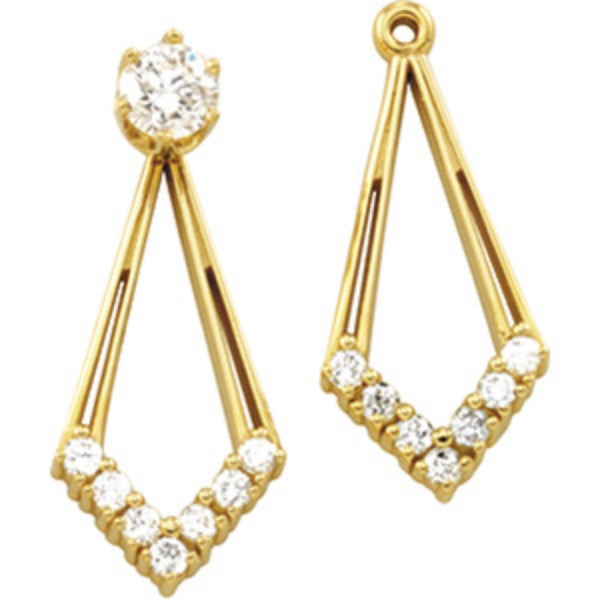 (.28 Carat) 14K Yellow Gold Diamond Earring Jackets