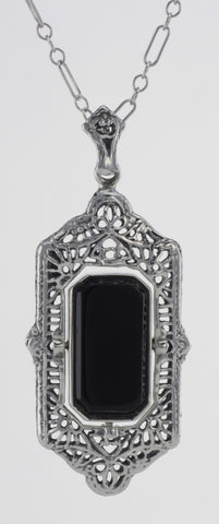 FLIP NECKLACE BLACK ONYX and CAMEO STERLING SILVER ANTIQUE STYLE RETAIL $300.00!