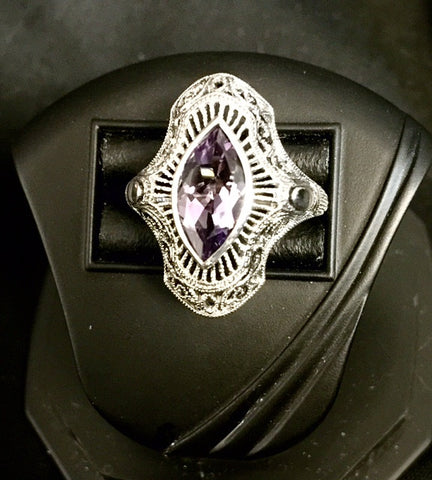 AMETHYST RING STERLING SILVER ANTIQUE STYLE