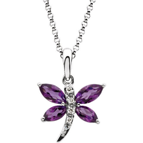 "14K White Gold, Amethyst & Diamond Dragonfly Pendant Necklace (18"" chain)"