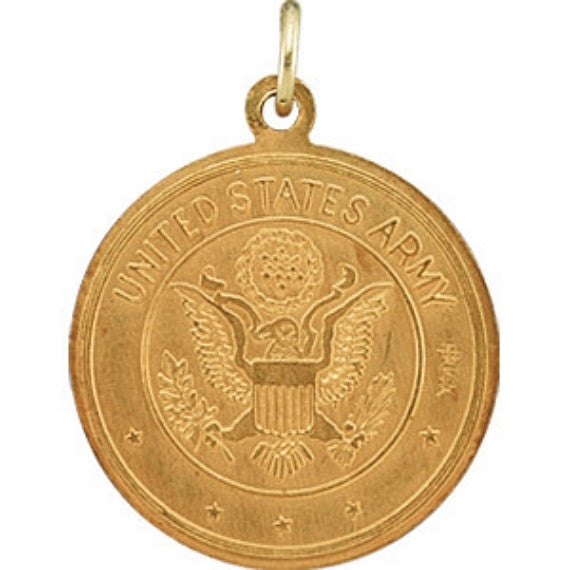 "14K Yellow Gold St. Christopher Medal Pendant - U.S. ARMY Edition (3/4"")"