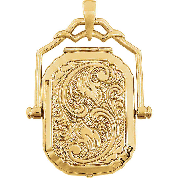 14K Yellow Gold Rectangular, Swivel Antique Style Locket Pendant (24 x 17.5MM)