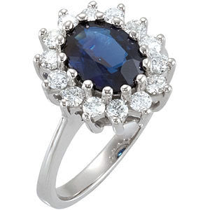 (2.50 Carat) 14K White Gold Oval Blue Sapphire + Diamond Ring (Color: G/H, Clarity: SI)