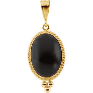 14K Yellow Gold Oval Black Onyx (8 Carat) Antique Style Pendant w/ Gold Bead Accent