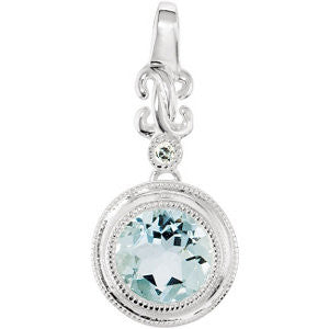 (1.25 Carat) 14K White Gold Halo Style Aquamarine + Diamond Pendant