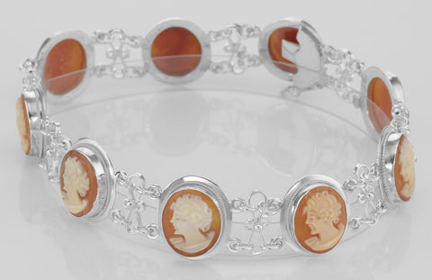 HAND CARVED CAMEO BRACELET STERLING SILVER RETAIL $675 + TAX!