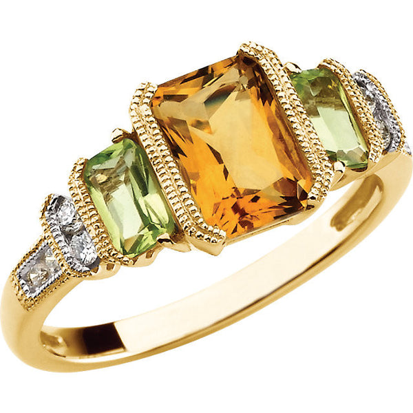 14K Yellow Gold Citrine (1.50 Carat) Peridot w/ Diamonds