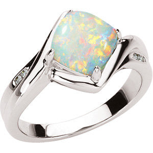 (1.30 Carat) 14K White Gold Opal + Diamond Ring