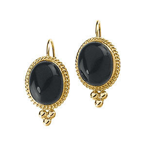 (6 Carat) 14K Yellow Gold Black Onyx Antique Style Earrings w/ Gold Bead Detail