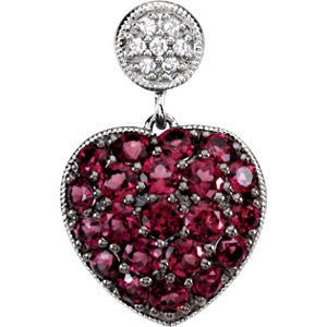 14K White Gold Heartshaped Garnet Pendant Necklace w/ Diamond Cluster