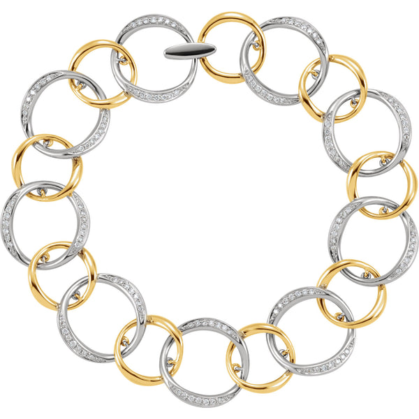 (.75 Carat) 14K White + Yellow Gold Diamond Circle Links Bracelet (Color: G/H, Clarity: I1)