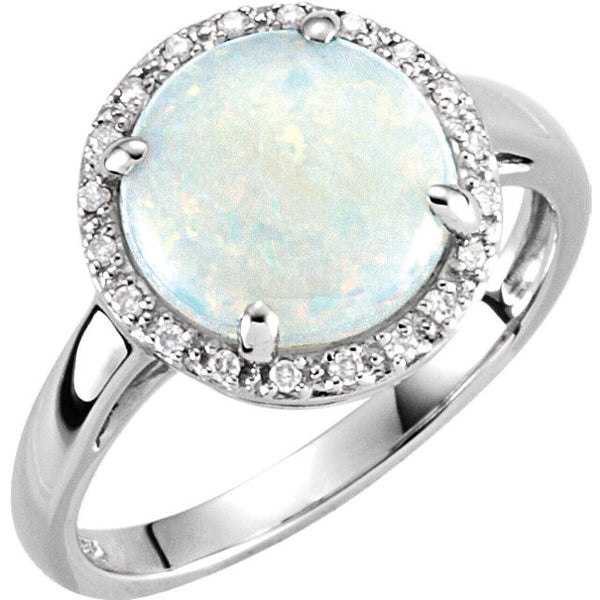 (2 Carat) 14K White Gold Halo Style Opal + Diamond Ring (Color: G/H, Clarity: SI)