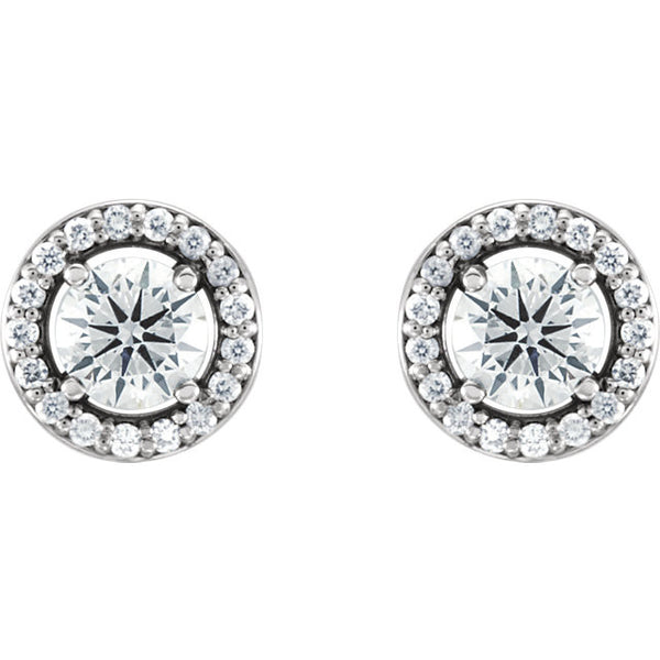 (0.50 Carat) 14K White Gold Diamond Halo Style Earrings (Color: G, Clarity: I1)