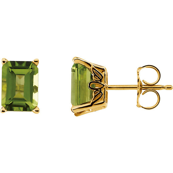 PERIDOT STUD EARRINGS 14K YELLOW GOLD RETAIL $295 + TAX!