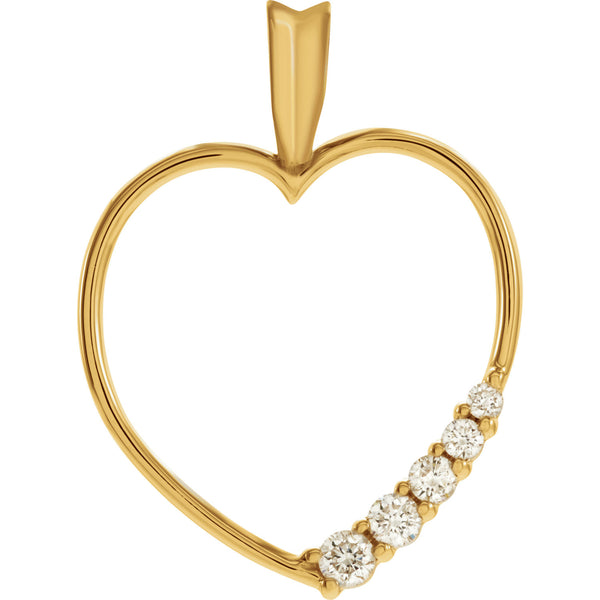 (0.20 Carat) 14K Yellow Gold Journey Diamond Heart Pendant