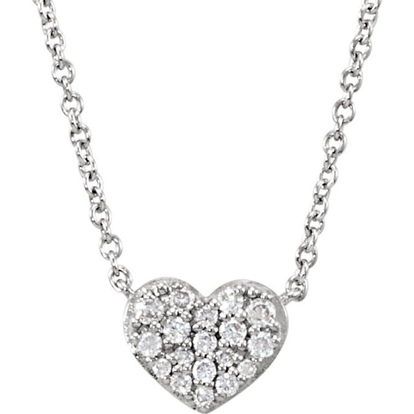 (0.10 Carat) 14K White Gold Diamond Cluster Heart Necklace