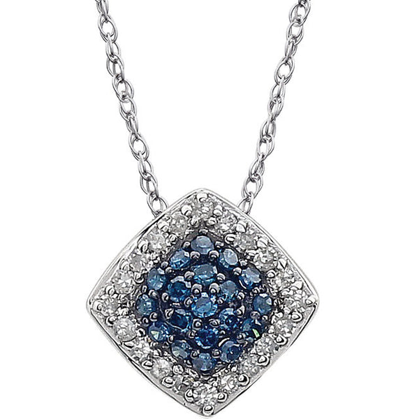 "(.18 Carat) Blue Diamond & Halo White Diamond 14k White Gold Necklace (18"")"