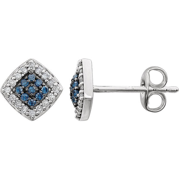 14K White Gold Blue + White Diamond Halo Stud Earrings