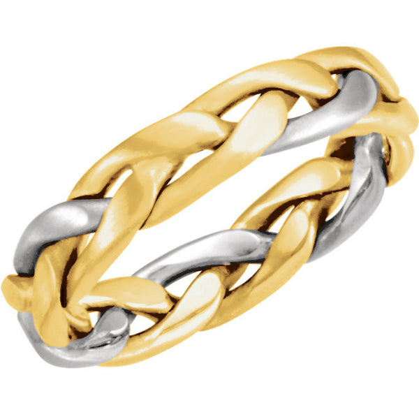 14K Yellow +White Gold Hand Woven Braided Wedding Band