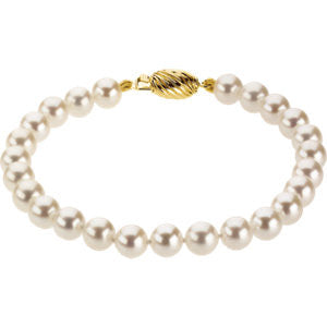 "14K Yellow Gold Fine Cultured Akoyo Pearl Bracelet (6 x 6.5MM) (7"")"