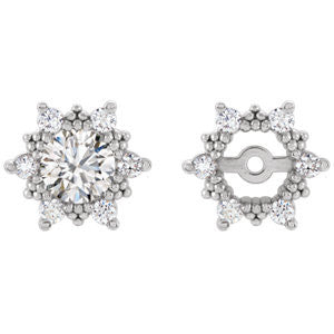 (0.24 Carat) Diamond Earring Jackets in 14k White Gold - set of 6 Diamonds