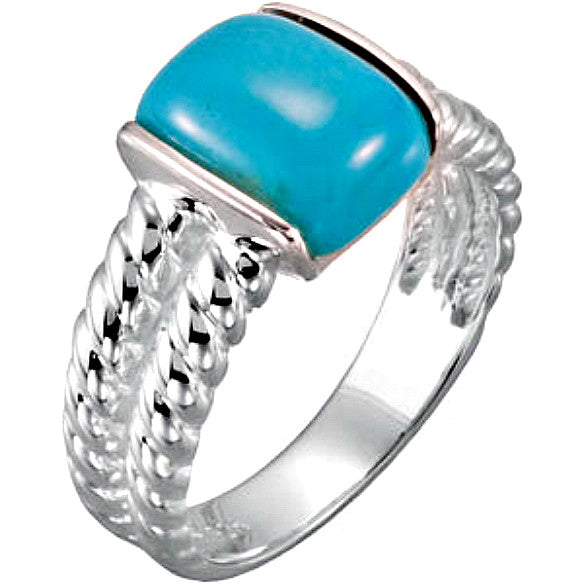 (3 Carat) Cushion Cut Genuine Chinese Turquoise Sterling Silver Ring