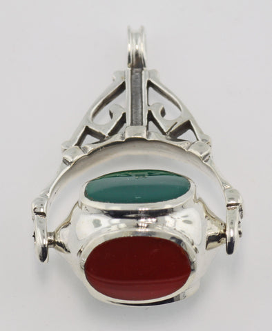 FOB PENDANT BLACK ONYX CARNELIAN GREEN AGATE PEARL STERLING RETAIL $95!