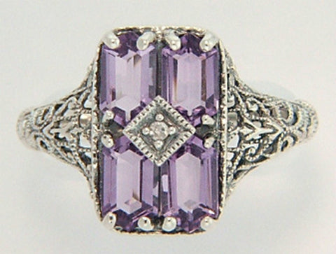 ANTIQUE STYLE AMETHYST DIAMOND RING STERLING SILVER RETAIL $180 + TAX!