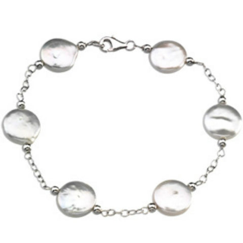 CULTURED WHITE COIN PEARL BRACELET STERLING SILVER