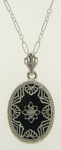 BLACK ONYX DIAMOND NECKLACE STERLING SILVER ANTIQUE STYLE