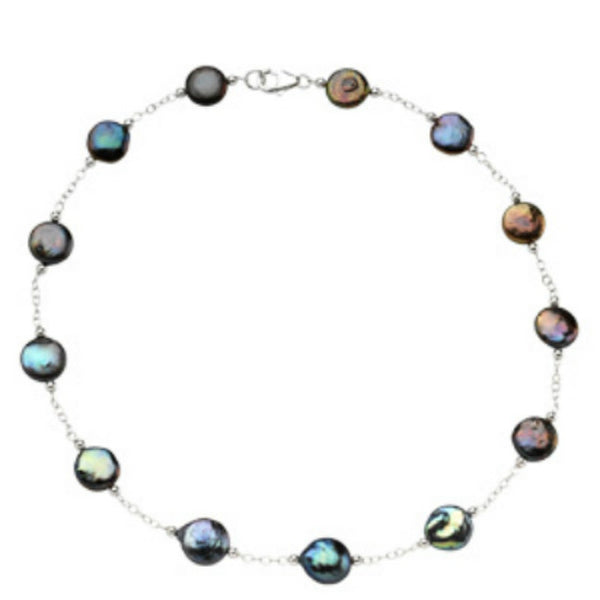 BLACK COIN PEARL NECKLACE STATIONS STERLING SILVER