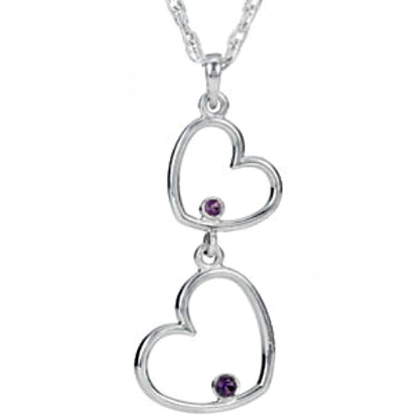 NECKLACE STERLING SILVER AMETHYST DOUBLE HEART