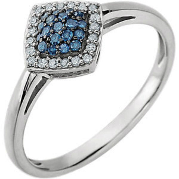 (0.18 Carat) 14K White Gold Blue + White Diamond Cluster Halo Style Ring