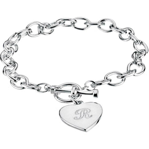 Sterling Silver Chain Link Heart Charm Dangle Bracelet w/ Toggle Clasp (engraving)