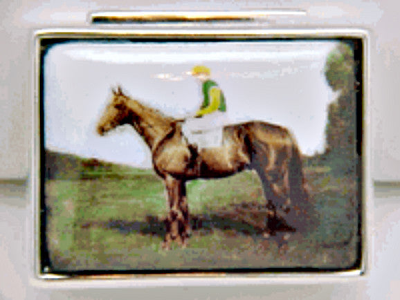 JOCKEY ON HORSE STERLING SILVER PILL BOX RETAIL $185 + TAX!