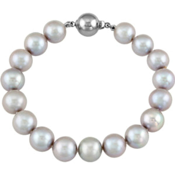"Sterling Silver Freshwater Cultured Silver Gray Pearl (10MM-11MM) Necklace (18"")"