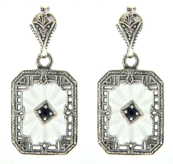 ART DECO EARRINGS CAMPHOR GLASS SAPPHIRE DIAMOND STERLING