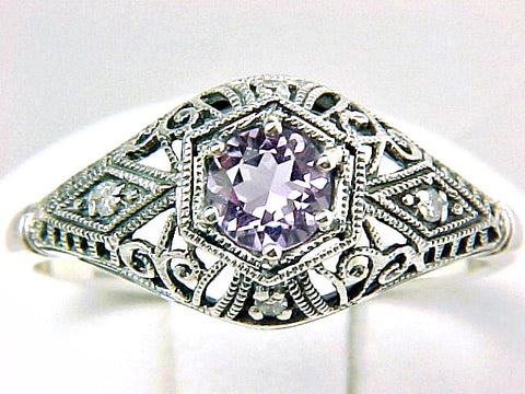 RING AMETHYST DIAMOND STERLING SILVER ANTIQUE STYLE