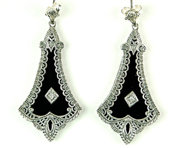 BLACK ONYX w DIAMOND EARRINGS STERLING SILVER