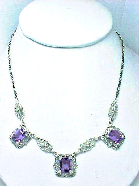 AMETHYST NECKLACE ANTIQUE STYLE FILIGREE STERLING SILVER