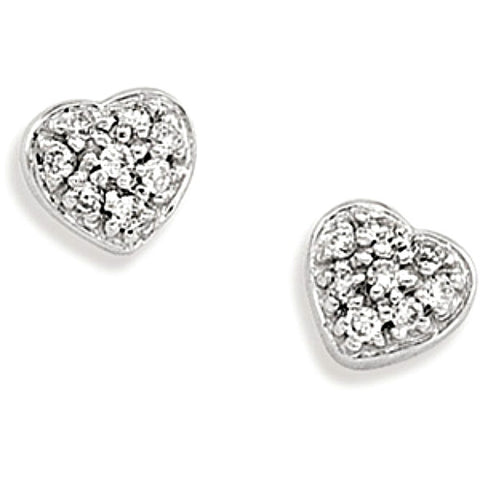 14k White Gold Heart Stud Diamond Earrings with 16 Sparkling Diamonds