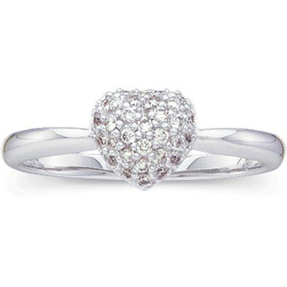 (0.21 Carat) 14K White Gold Heart Shaped Diamond Cluster Ring (Color: G/H, Clarity: SI)