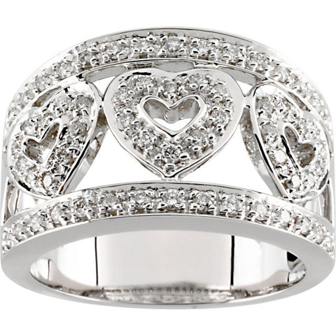 (0.50 Carat) 14K White Gold Diamond Heart Wedding Band